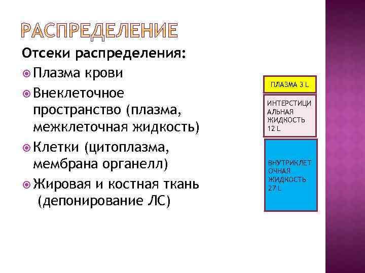 Отсеки распределения: Плазма крови Внеклеточное пространство (плазма, межклеточная жидкость) Клетки (цитоплазма, мембрана органелл) Жировая