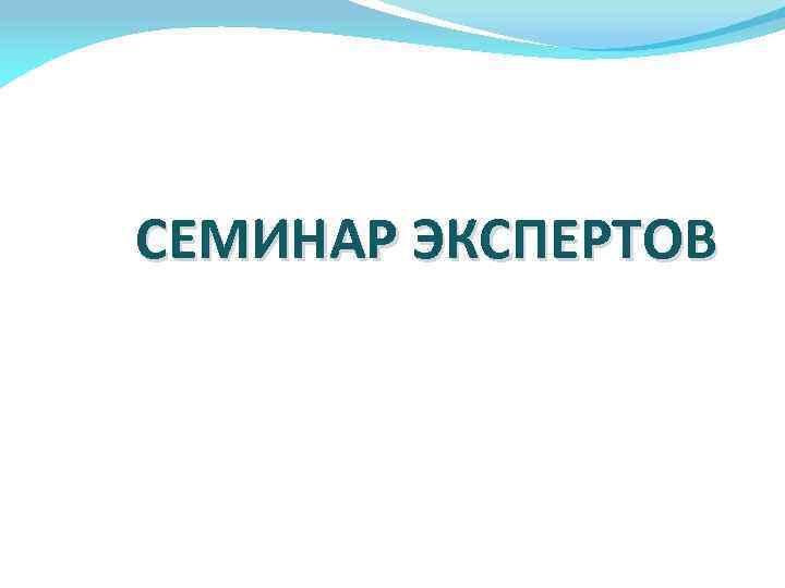 СЕМИНАР ЭКСПЕРТОВ