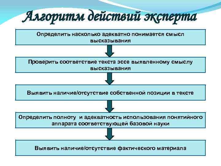 Алгоритм действий эксперта Определить насколько адекватно понимается смысл высказывания Проверить соответствие текста эссе выявленному