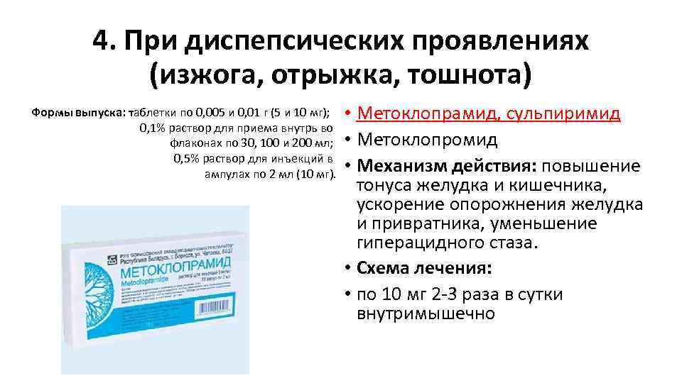 4. При диспепсических проявлениях (изжога, отрыжка, тошнота) Формы выпуска: таблетки по 0, 005 и