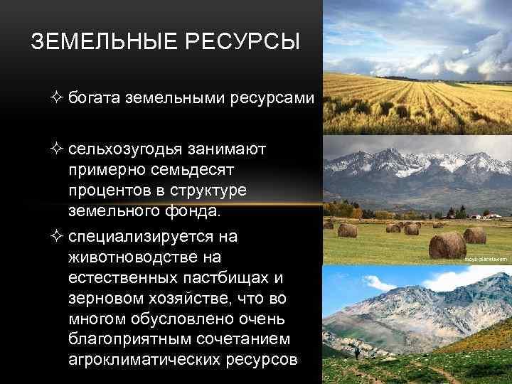 ЗЕМЕЛЬНЫЕ РЕСУРСЫ ² богата земельными ресурсами ² сельхозугодья занимают примерно семьдесят процентов в структуре