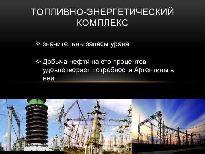 ТОПЛИВНО-ЭНЕРГЕТИЧЕСКИЙ КОМПЛЕКС ² значительны запасы урана ² Добыча нефти на сто процентов удовлетворяет потребности