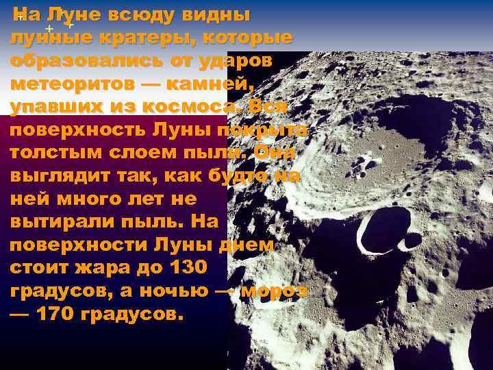 На Луне всюду видны лунные кратеры, которые образовались от ударов метеоритов — камней, упавших