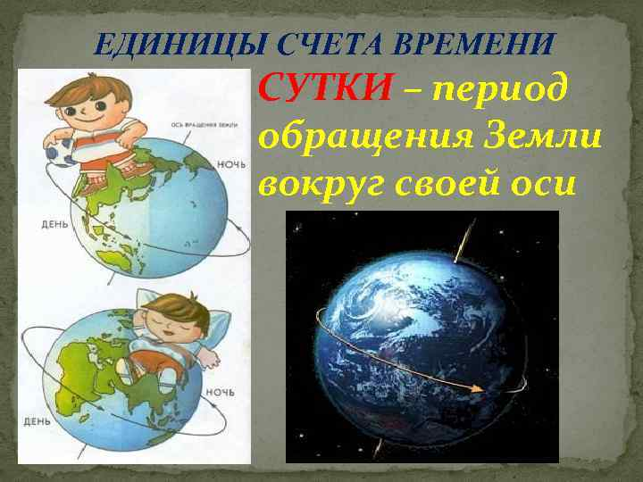 ЕДИНИЦЫ СЧЕТА ВРЕМЕНИ СУТКИ – период обращения Земли вокруг своей оси