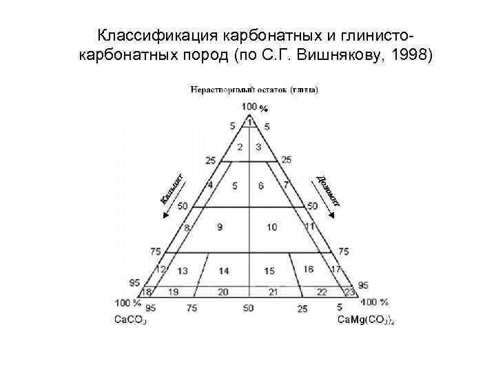 Классификация карбонатных и глинистокарбонатных пород (по С. Г. Вишнякову, 1998)