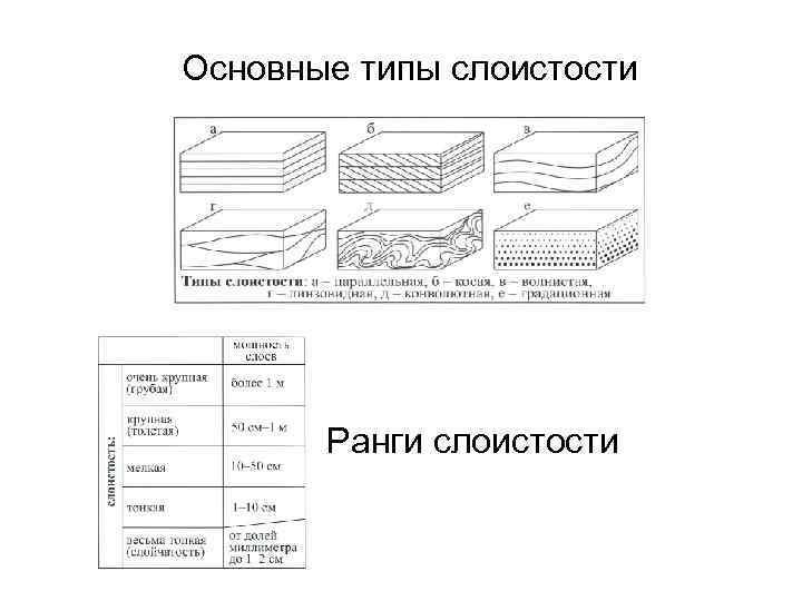 Основные типы слоистости Ранги слоистости