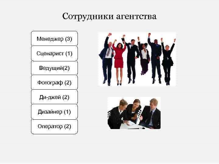 Сотрудники агентства Менеджер (3) Сценарист (1) Ведущий(2) Фотограф (2) Ди-джей (2) Дизайнер (1) Оператор