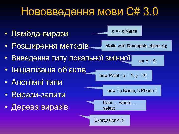 Нововведення мови С# 3. 0 • Лямбда-вирази • Розширення методів c => c. Name