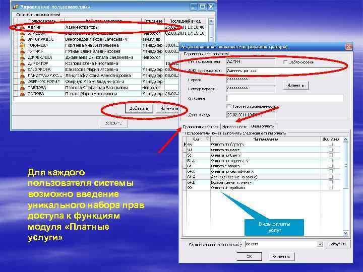 Для каждого пользователя системы возможно введение уникального набора прав доступа к функциям модуля «Платные