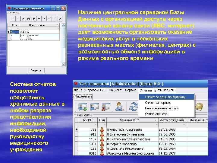 Наличие центральной серверной Базы Данных с организацией доступа через постоянные каналы связи (ЛВС, интернет)