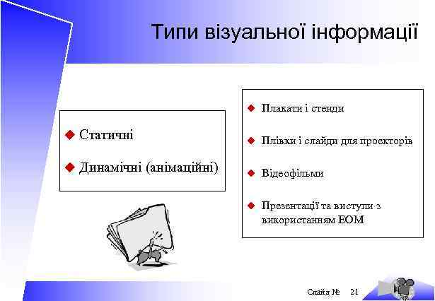 Типи візуальної інформації u Плакати і стенди u Статичні u Плівки і слайди для