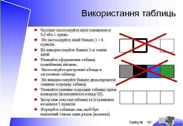 Використання таблиць u Частіше застосовуйте лінії товщиною в u u u u 0, 5