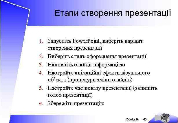 Етапи створення презентації 1. Запустіть Power. Point, виберіть варіант 2. 3. 4. 5. 6.