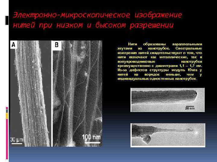 Электронно-микроскопическое изображение нитей при низком и высоком разрешении Нити образованы параллельными жгутами из нанотрубок.