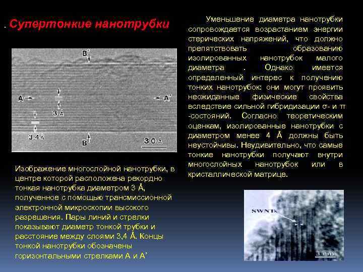 . Супертонкие нанотрубки Изображение многослойной нанотрубки, в центре которой расположена рекордно тонкая нанотрубка диаметром
