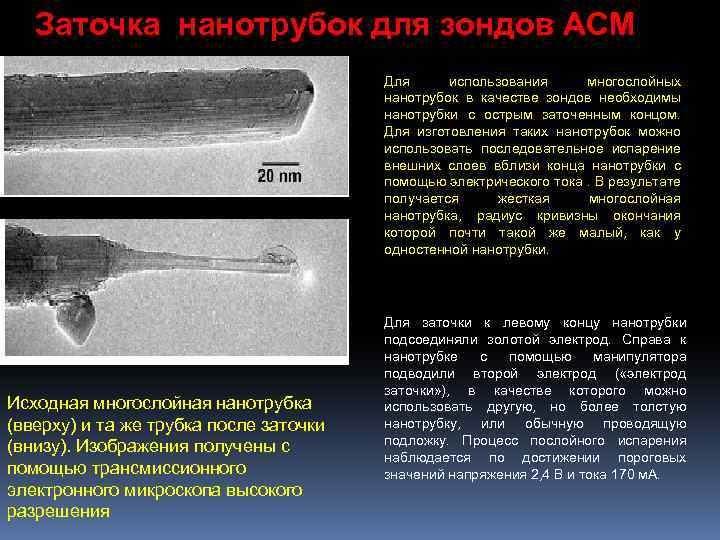 Заточка нанотрубок для зондов АСМ Для использования многослойных нанотрубок в качестве зондов необходимы нанотрубки