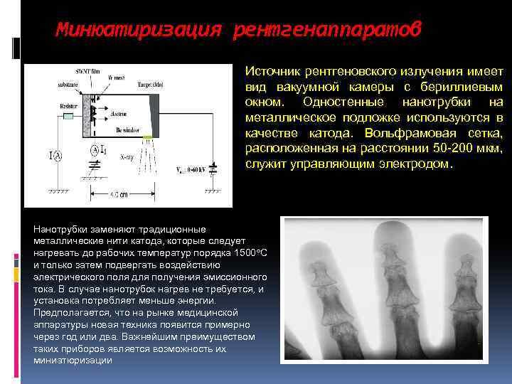 Минюатиризация рентгенаппаратов Источник рентгеновского излучения имеет вид вакуумной камеры с бериллиевым окном. Одностенные нанотрубки