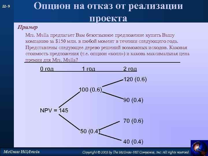 22 - 9 Опцион на отказ от реализации проекта Пример Mrs. Mulla предлагает Вам