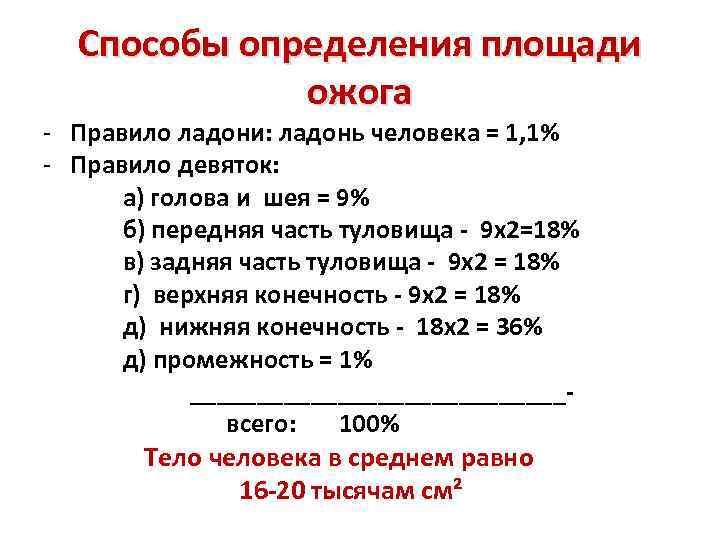 Способы определения площади ожога - Правило ладони: ладонь человека = 1, 1% - Правило