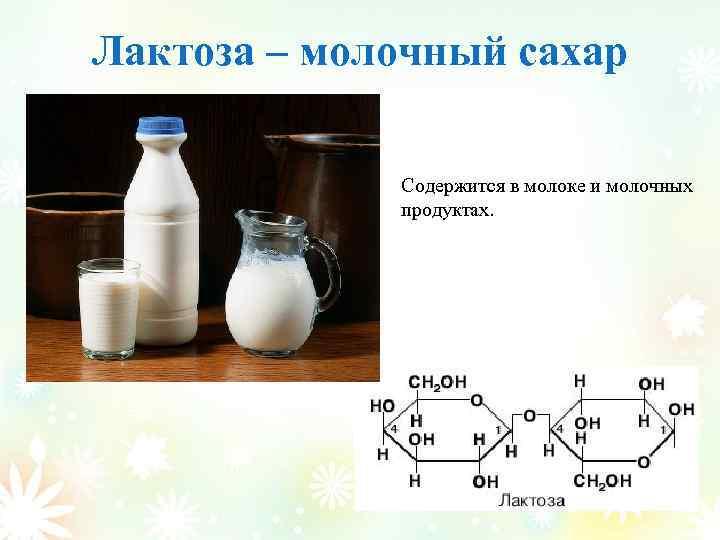 Лактоза – молочный сахар Содержится в молоке и молочных продуктах.