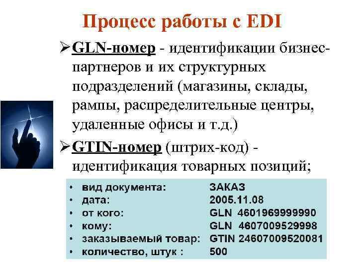 Процесс работы с EDI Ø GLN номер идентификации бизнес партнеров и их структурных подразделений