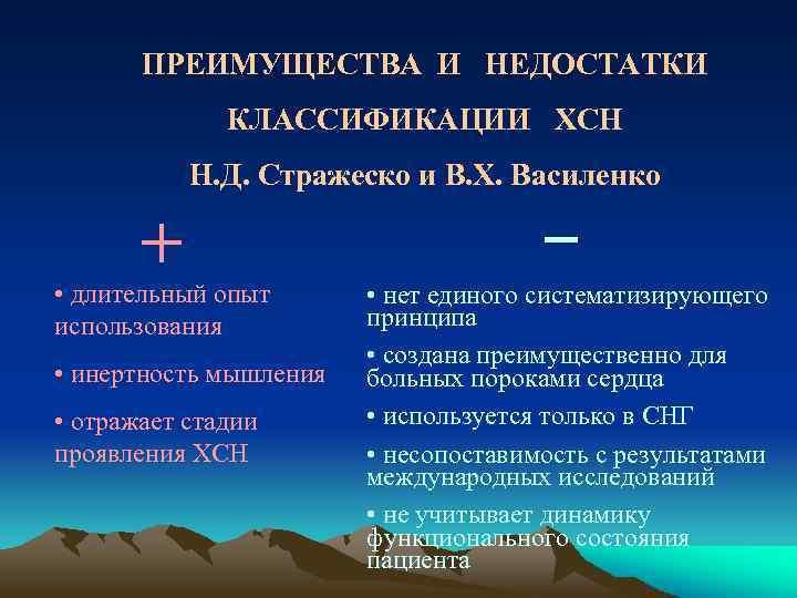 ПРЕИМУЩЕСТВА И НЕДОСТАТКИ КЛАССИФИКАЦИИ ХСН Н. Д. Стражеско и В. Х. Василенко + •
