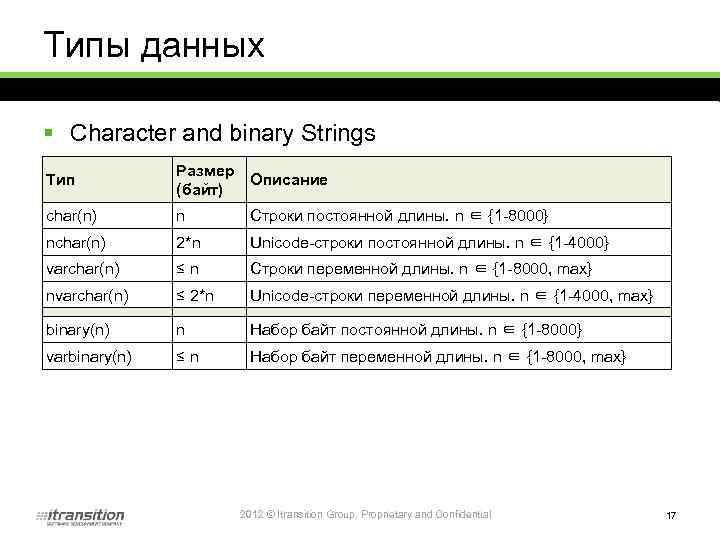 Типы данных § Character and binary Strings Тип Размер Описание (байт) char(n) n Строки