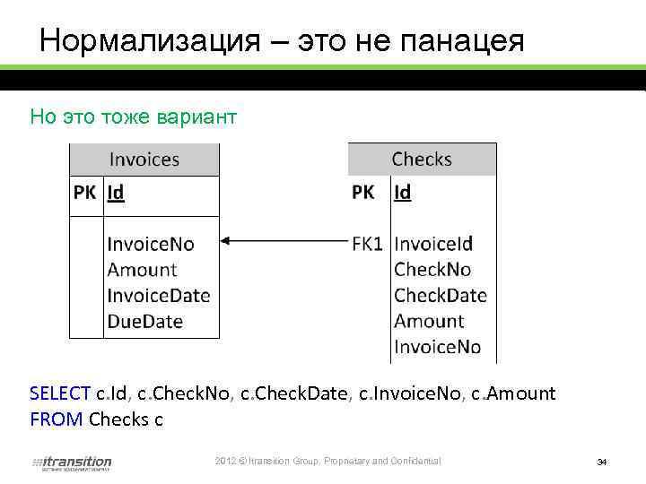 Нормализация – это не панацея Но это тоже вариант SELECT c. Id, c. Check.