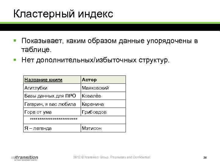 Кластерный индекс § Показывает, каким образом данные упорядочены в таблице. § Нет дополнительных/избыточных структур.