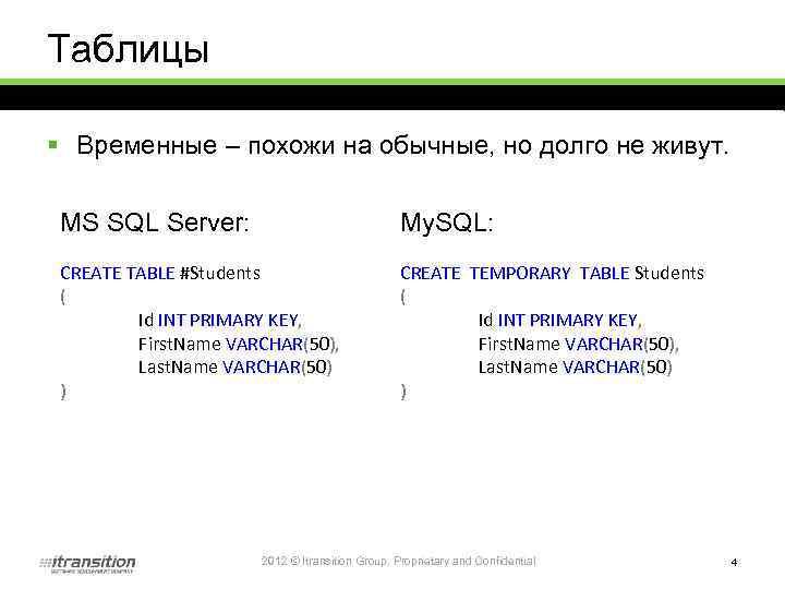 Таблицы § Временные – похожи на обычные, но долго не живут. MS SQL Server: