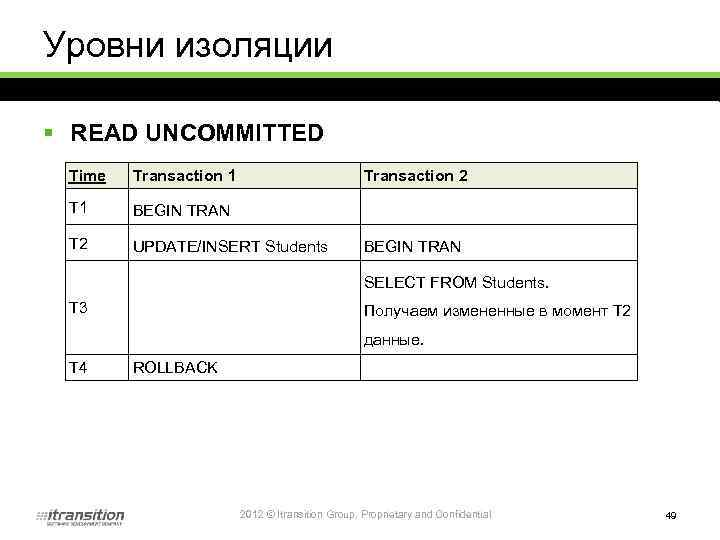 Уровни изоляции § READ UNCOMMITTED Time Transaction 1 Transaction 2 T 1 BEGIN TRAN