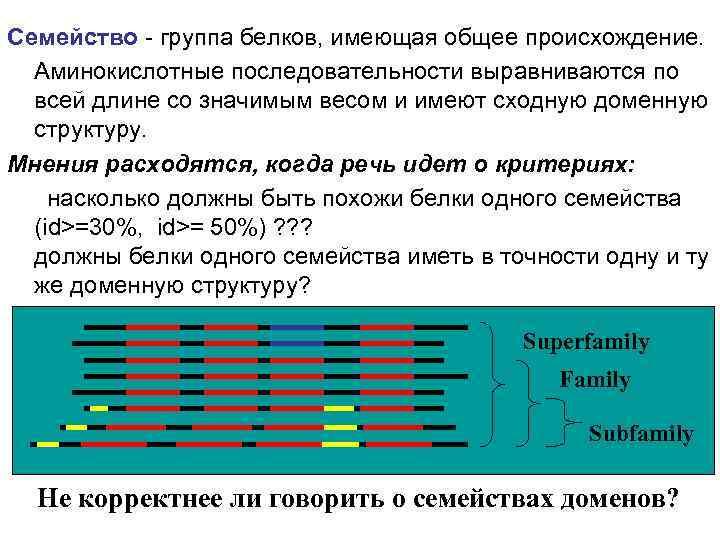Семейство - группа белков, имеющая общее происхождение. Аминокислотные последовательности выравниваются по всей длине со