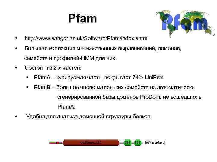 Pfam • http: //www. sanger. ac. uk/Software/Pfam/index. shtml • Большая коллекция множественных выравниваний, доменов,