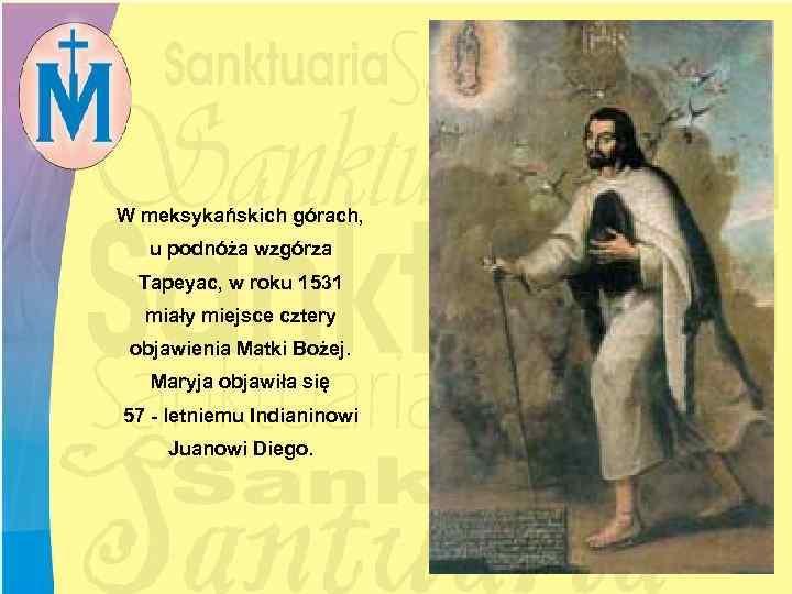 W meksykańskich górach, u podnóża wzgórza Tapeyac, w roku 1531 miały miejsce cztery objawienia