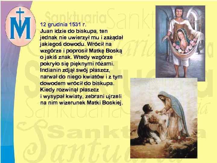 12 grudnia 1531 r. Juan idzie do biskupa, ten jednak nie uwierzył mu i