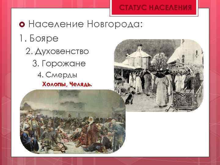 СТАТУС НАСЕЛЕНИЯ Население Новгорода: 1. Бояре 2. Духовенство 3. Горожане 4. Смерды Холопы, Челядь.