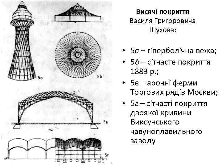 Висячі покриття Василя Григоровича Шухова: • 5 а – гіперболічна вежа; • 5 б