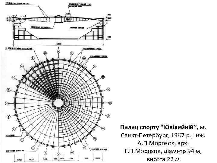"""Палац спорту """"Ювілейній"""", м. Санкт-Петербург, 1967 р. , інж. А. П. Морозов, арх. Г."""