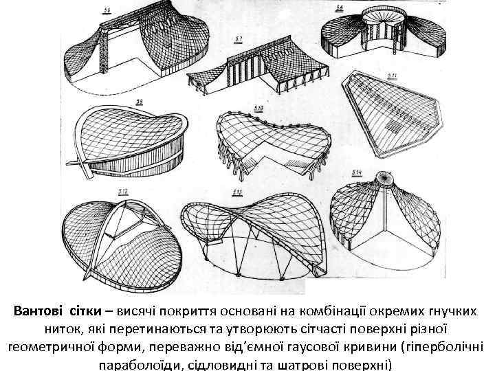 Вантові сітки – висячі покриття основані на комбінації окремих гнучких ниток, які перетинаються та