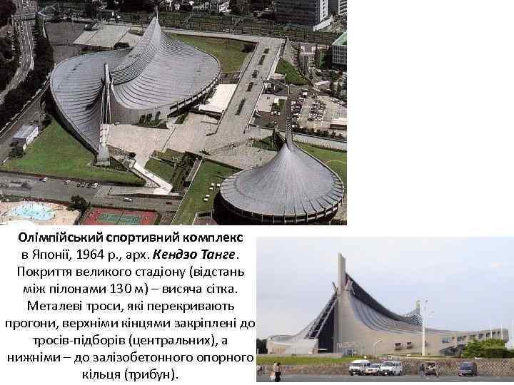 Олімпійський спортивний комплекс в Японії, 1964 р. , арх. Кендзо Танге. Покриття великого