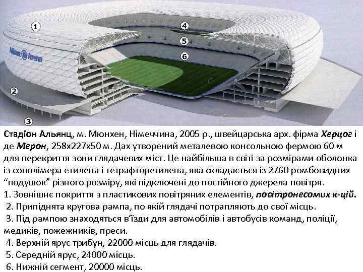 Стадіон Альянц, м. Мюнхен, Німеччина, 2005 р. , швейцарська арх. фірма Херцог і де