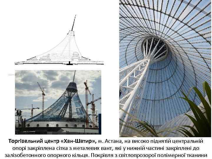 Торгівельний центр «Хан-Шатир» , м. Астана, на високо піднятій центральній опорі закріплена сітка з