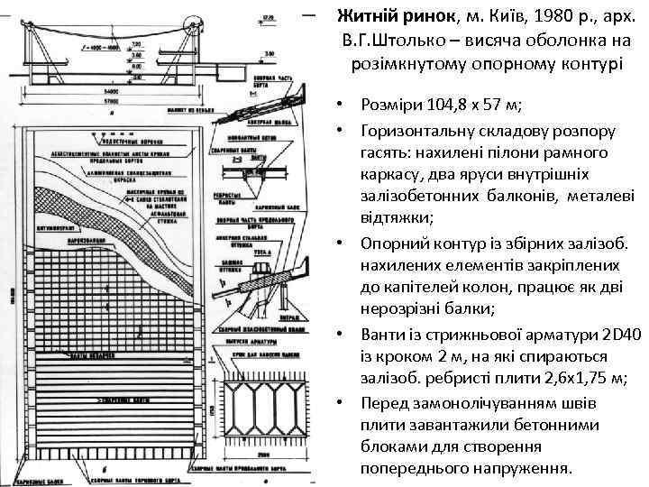 Житній ринок, м. Київ, 1980 р. , арх. В. Г. Штолько – висяча оболонка