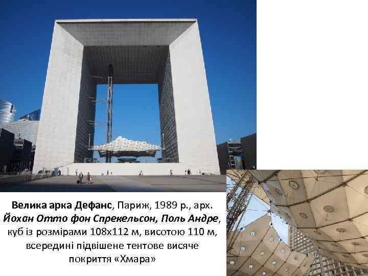 Велика арка Дефанс, Париж, 1989 р. , арх. Йохан Отто фон Спрекельсон, Поль Андре,