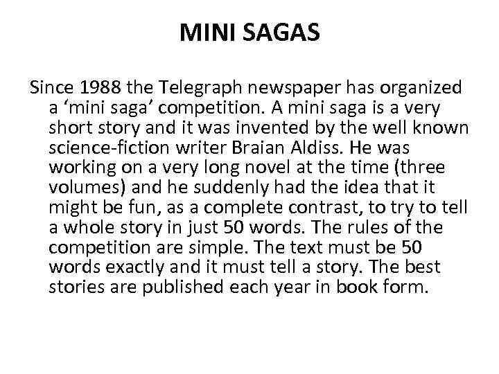 how to write a mini saga