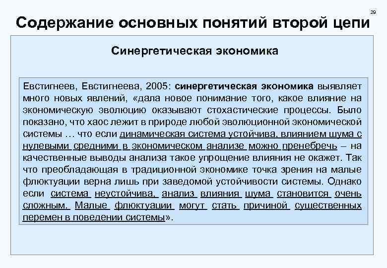 29 Содержание основных понятий второй цепи Синергетическая экономика Евстигнеев, Евстигнеева, 2005: синергетическая экономика выявляет