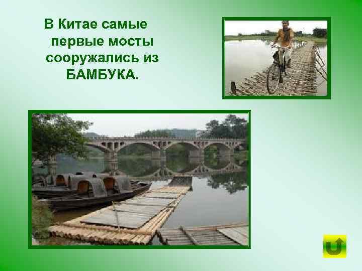 В Китае самые первые мосты сооружались из БАМБУКА.