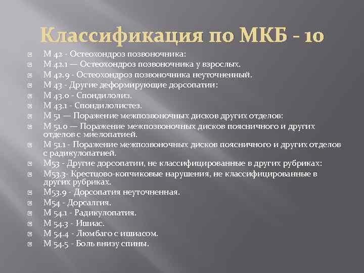 Позвоночный остеохондроз код по мкб 10
