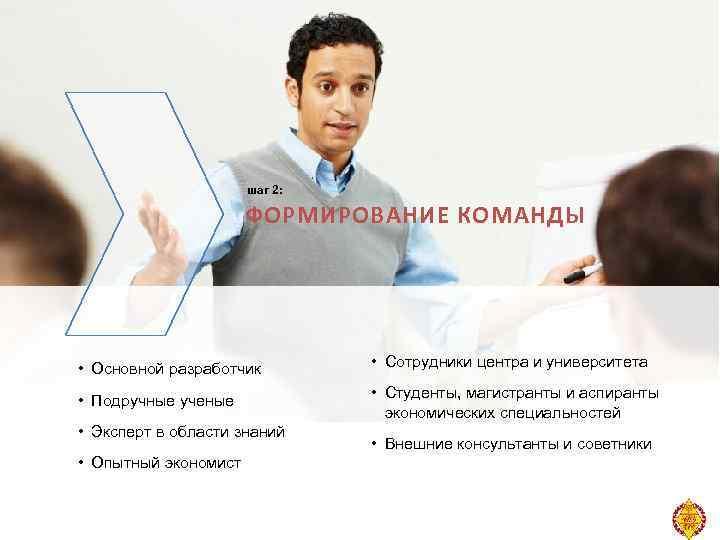 шаг 2: ФОРМИРОВАНИЕ КОМАНДЫ • Основной разработчик • Сотрудники центра и университета • Подручные