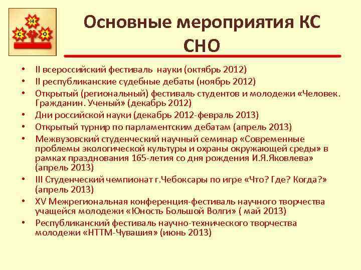 Основные мероприятия КС СНО • II всероссийский фестиваль науки (октябрь 2012) • II республиканские